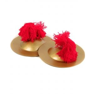 This is a product image of the Ceng Ceng - 18cm, pair. The cymbals are gold coloured with red wool tassled hand holds. The Ceng Ceng are laid out flat, one overlapping the other, with the image taken from the front.
