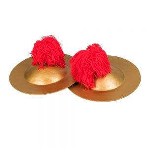 This is a product image of the Ceng Ceng - 22cm, pair. The cymbals are gold coloured with red wool tassled hand holds. The Ceng Ceng are laid out flat, one overlapping the other, with the image taken from the front.