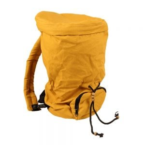 This is a product image of the Djembe Drum Bag - Standard - 8in diameter, 40cm high, canvas. It is yellow in colour and has a straight forward design, complete with pull cords to keep the Djembe within.