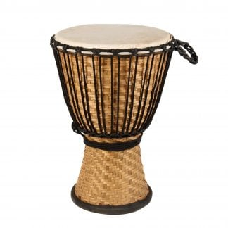This is a product image of the Djembe Drum - Bamboo - 12in diameter, 50cm high from the side.