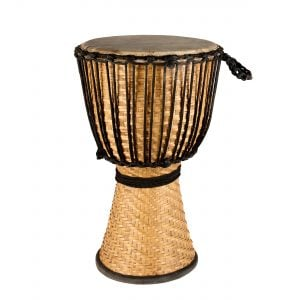 This is a product image of the Djembe Drum - Bamboo - 14in diameter, 60cm high from the side.