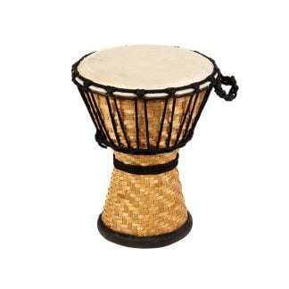 This is a product image of the Djembe Drum - Bamboo - 8in diameter, 30cm high from the side.