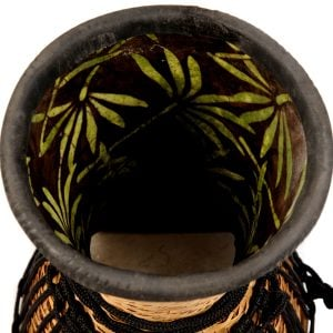 Djembe Drum - Bamboo - 8in diameter, 30cm high, upside down inside close up.