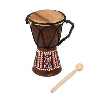 This is a product image of the Djembe Drum - Budget - 3in diameter, 15cm high, painted from the side. The beater is lying next to it.