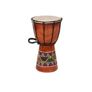 Djembe Drum - Budget - 5in diameter, 25cm high, painted from the side.