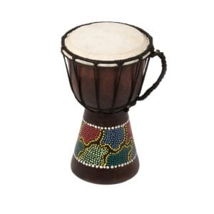This is a product image of the Djembe Drum - Budget - 5in diameter, 25cm high, painted from the side.