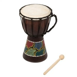 Djembe Drum - Budget - 5in diameter, 25cm high, painted with beater