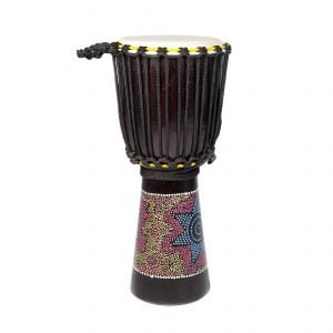This is a product image of the Djembe Drum - Budget - 9in diameter, 60cm high, painted from the side.