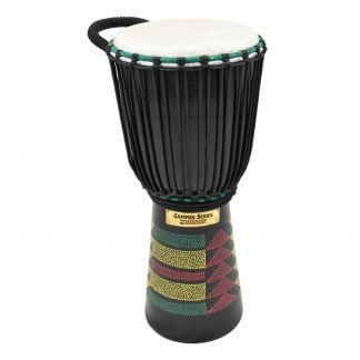 This is a product image of the Djembe Drum - Kente - 10in  diameter, 60cm high, painted from the side.