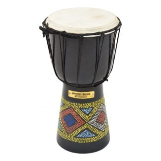 This is a product image of the Djembe Drum - Kente - 5in diameter, 25cm high, painted from the side.