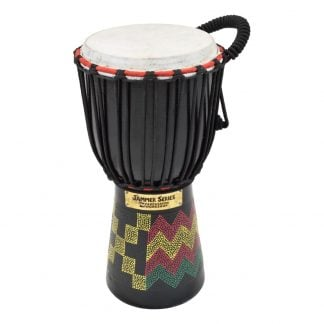 This is a product image of the Djembe Drum - Kente - 6in diameter, 30cm high, painted from the side.