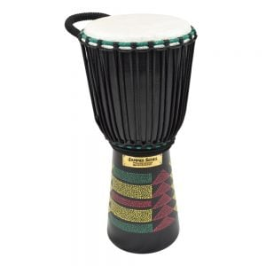 This is a product image of the Djembe Drum - Kente - 8in diameter, 50cm high, painted from the side.