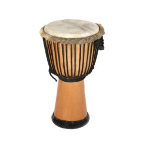 This is a product image of the Djembe Drum - Premium - 12in diameter, 65cm high, natural from the side.