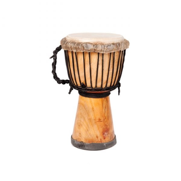 This is a product image of the Djembe Drum - Standard - 7in diameter, 30cm high, natural from the side.