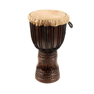 This is a product image of the Djembe Drum - Standard - 8in diameter, 40cm high, deep carved from the side.