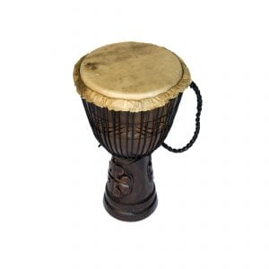 Djembe Drum - Standard - 9in diameter, 50cm high, deep carved from different angle.