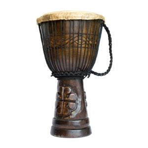 Djembe Drum - Standard - 9in diameter, 50cm high, deep carved from the side.