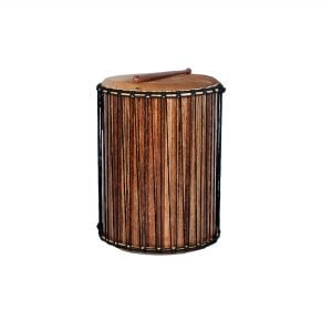 This is a product image of Drums for Schools' recycled wood Dundun 18in diameter 60cm high.