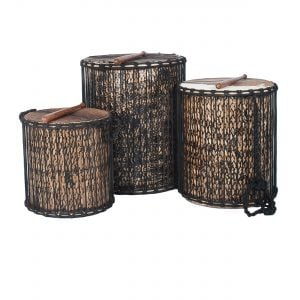 This is a product image of a Dundun Set - Large - bamboo from the side with a beater resting on each drum. It contains a Kenkeni: 35cm diameter by 40cm high, a Dundun: 45cm diameter by 60cm high and a Sangban: 40cm diameter by 50cm high.