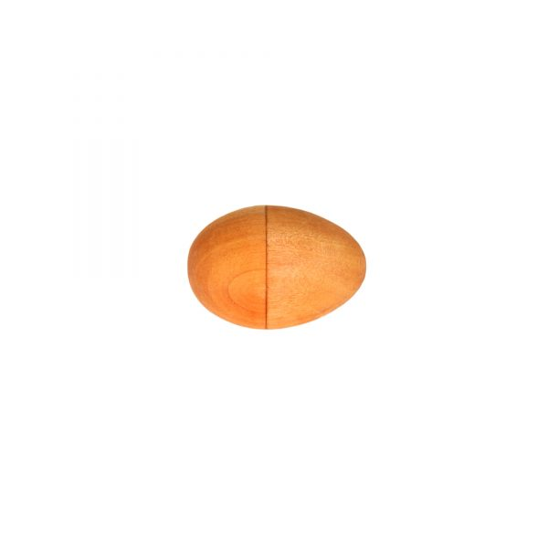 This is a product image of the Egg Shaker - Medium - 7cm, painted. It is a simple wooden egg shape with paint in various colours, tightly dotted around the lower half of the body.