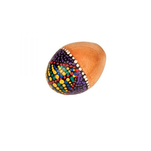 This is a product image of the Egg Shaker - Medium - 7cm, Early Years. It is a simple wooden egg shape and has a smooth plain finish.