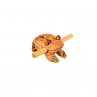 This is a product image of the Frog Scaper - Small - Early Years. It is a carved frog with a ridged back and has patterns and detail burned into the body. The stick is held in the frog's mouth. The frog is angled slightly to the right.