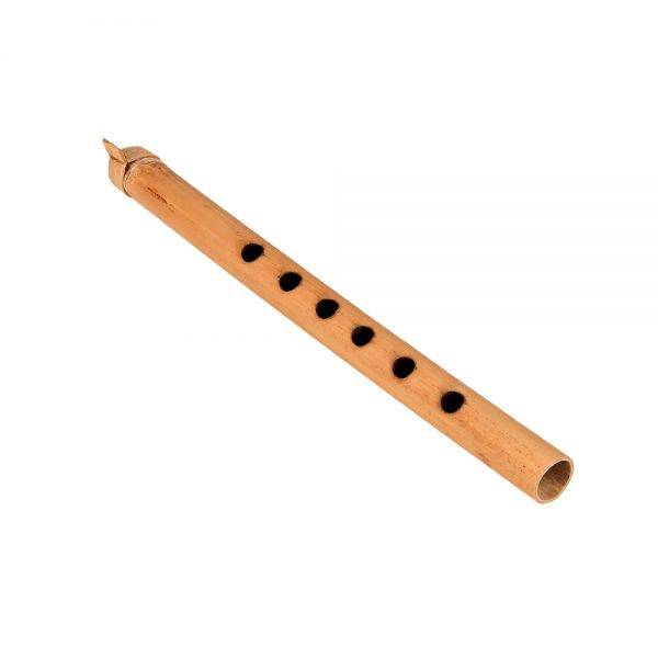 This is a product image of the Gamelan - Flute (Suling) - 25cm, bamboo. It is light coloured bamboo with six pitch holes visible. The bamboo wrap mouth section can be seen. The instrument is laying flat and pointing down and to the right.