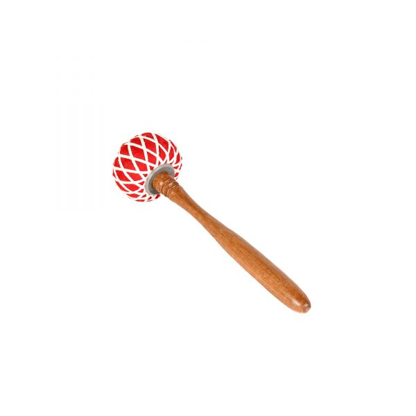 This is a product image of the Gong Beater (Pangul) for 30cm Gong. It has a wooden handle with a soft, red head that is tied in place with string work. The beater is laid flat and facing up and to the left.