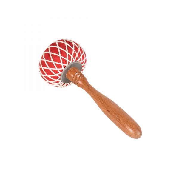 This is a product image of the Gong Beater (Pangul) for 80cm Gong. It has a wooden handle with an over-sized, soft, red head that is tied in place with string work. The beater is laid flat and facing up and to the left.