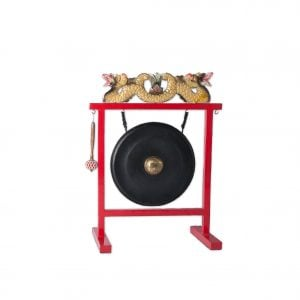 Gong Set - 12in (30cm) diameter Gong with Stand and Beater, from different angle.