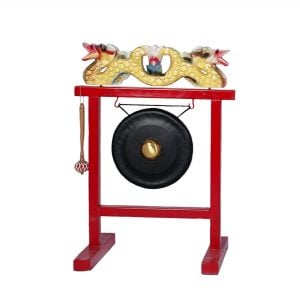 Gong Set - 12in (30cm) diameter Gong with Stand and Beater, from left angle shot.