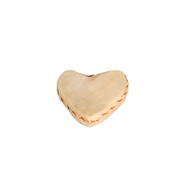 This is a product image of the Heart Shaker. It is a shaker made of goat skin and has been sewn and formed into the shape of a heart,
