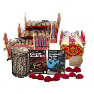 This is a product image of the Indonesian Gamelan - 10 Player Starter Pack. The products are laid out and include the following; Back Row - One Gamelan - Budget - Large 7 key. Second Row - One Gamelan - Budget - Medium 7 key. Third Row - One Gamelan - Budget - Small 7 key, one Pulu - Budget. Fourth Row - One Teenyweeny Kenkeni - 8in diameter, 30cm high, bamboo, Andy Gleadhill's Indonesian Gamelan Book, Andy Gleadhill's Percussion Buddies Book, Storage Basket. Front Row - Five Ceng Ceng - 14cm, pair. Each instrument that requires a beater has one resting on top of them.