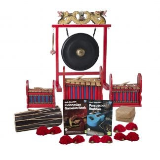 This is a product image of the Indonesian Gamelan - Budget - 10 Player Class Pack - Buddies. The products are laid out and include the following; Back Row - One Gong Set - 16in (40cm) diameter Gong with Stand and Beater. Second Row - One Gamelan - Budget - Small 7 key, one Gamelan - Budget - Large 7 key, one Gamelan - Budget - Medium 7 key. Third Row - One Balinese Drum - 50cm, Andy Gleadhill's Indonesian Gamelan Book, Andy Gleadhill's Percussion Buddies Book, Storage Basket. Front Row - Five Ceng Ceng - 14cm, pair. Each instrument that requires a beater has one resting on top of them.