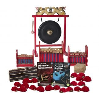 This is a product image of the Indonesian Gamelan - Budget - 15 Player Class Pack - Budget Buddies. The products are laid out and include the following; Back Row - One Gong Set - 16in (40cm) diameter Gong with Stand and Beater. Second Row - One Gamelan - Budget - Small 7 key, one Gamelan - Budget - Large 7 key, one Gamelan - Budget - Medium 7 key. Third Row - One Balinese Drum - 50cm, Andy Gleadhill's Indonesian Gamelan Book, Andy Gleadhill's Percussion Buddies Book, Storage Basket. Front Row - Ten Ceng Ceng - 14cm, pair. Each instrument that requires a beater has one resting on top of them.