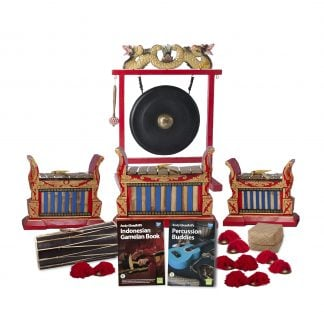 This is a product image of the Indonesian Gamelan - Premium - 10 Player Class Pack - Buddies. The products are laid out and include the following; Back Row - One Gong Set - 20in (50cm) diameter Gong with Stand and Beater. Second Row - One Gamelan - Premium - Medium 7 key, one Gamelan - Premium - Large 7 key, one Gamelan - Premium - Small 7 key. Front Row - One Balinese Drum - 50cm, Andy Gleadhill's Indonesian Gamelan Book, Andy Gleadhill's Percussion Buddies Book, Storage Basket, five Ceng Ceng - 14cm, pair. Each instrument that requires a beater has one resting on top of them.