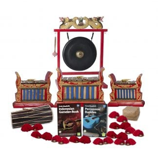 This is a product image of the Indonesian Gamelan - Premium - 15 Player Class Pack - Budget Buddies. The products are laid out and include the following; Back Row - One Gong Set - 20in (50cm) diameter Gong with Stand and Beater. Second Row - One Gamelan - Premium - Medium 7 key, one Gamelan - Premium - Large 7 key, one Gamelan - Premium - Small 7 key. Front Row - One Balinese Drum - 50cm, Andy Gleadhill's Indonesian Gamelan Book, Andy Gleadhill's Percussion Buddies Book, Storage Basket, ten Ceng Ceng - 14cm, pair. Each instrument that requires a beater has one resting on top of them.