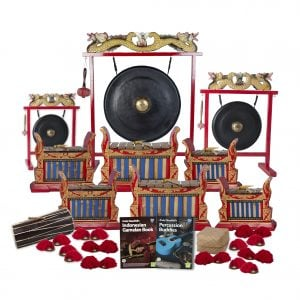 This is a product image of the Indonesian Gamelan - Premium - 20 Player Class Pack - Buddies. The products are laid out and include the following; Back Row - One Gong Set - 12in (30cm) diameter Gong with Stand and Beater, one Gong Set - 32in (80cm) diameter Gong with Stand and Beater, one Gong Set - 20in (50cm) diameter Gong with Stand and Beater. Second and Third Rows - Two Gamelan - Premium - Medium 7 key, two Gamelan - Premium - Large 7 key, two Gamelan - Premium - Small 7 key. Front Row - One Balinese Drum - 50cm, Andy Gleadhill's Indonesian Gamelan Book, Andy Gleadhill's Percussion Buddies Book, Storage Basket, ten Ceng Ceng - 14cm, pair. Each instrument that requires a beater has one resting on top of them.
