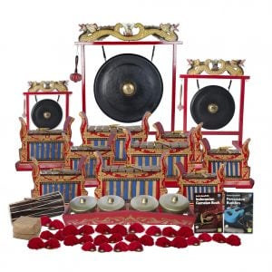 This is a product image of the Indonesian Gamelan - Premium - 30 Player Class Pack - Buddies. The products are laid out and include the following; Back Row - One Gong Set - 12in (30cm) diameter Gong with Stand and Beater, one Gong Set - 32in (80cm) diameter Gong with Stand and Beater, one Gong Set - 20in (50cm) diameter Gong with Stand and Beater. Second, Third and Fourth Rows - Three Gamelan - Premium - Medium 7 key, three Gamelan - Premium - Large 7 key, three Gamelan - Premium - Small 7 key. Fifth Row - One Balinese Drum - 50cm, one Bonang - 4 Pan - Premium - low pitch, Andy Gleadhill's Indonesian Gamelan Book, Andy Gleadhill's Percussion Buddies Book. Front Row - Storage Basket, fifteen Ceng Ceng - 14cm, pair. Each instrument that requires a beater has one resting on top of them.