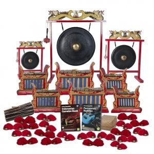 This is a product image of the Indonesian Gamelan - Premium - 30 Player Class Pack - Budget Buddies. The products are laid out and include the following; Back Row - One Gong Set - 12in (30cm) diameter Gong with Stand and Beater, one Gong Set - 32in (80cm) diameter Gong with Stand and Beater, one Gong Set - 20in (50cm) diameter Gong with Stand and Beater. Second and Third Rows - Two Gamelan - Premium - Medium 7 key, two Gamelan - Premium - Large 7 key, two,     Gamelan - Premium - Small 7 key. Front Row - One Balinese Drum - 50cm, Andy Gleadhill's Indonesian Gamelan Book, Andy Gleadhill's Percussion Buddies, Storage Basket, twenty Ceng Ceng - 14cm, pair. Each instrument that requires a beater has one resting on top of them.