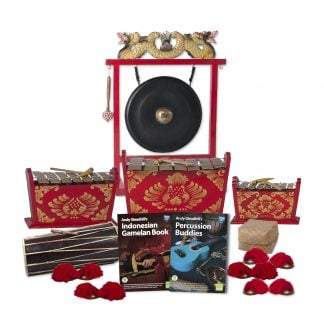This is a product image of the Indonesian Gamelan - Standard - 10 Player Class Pack - Buddies. The products are laid out and include the following; Back Row - One Gong Set - 20in (50cm) diameter Gong with Stand and Beater. Second Row - One Gamelan - Standard - Medium 7 key, one Gamelan - Standard - Large 7 key, one Gamelan - Standard - Small 7 key. Front Row - One Balinese Drum - 50cm, Andy Gleadhill's Indonesian Gamelan Book, Andy Gleadhill's Percussion Buddies Book, Storage Basket, five Ceng Ceng - 14cm, pair. Each instrument that requires a beater has one resting on top of them.