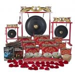 This is a product image of the Indonesian Gamelan - Standard - 30 Player Class Pack - Buddies. The products are laid out and include the following; Back Row - Gong Set - 12in (30cm) diameter Gong with Stand and Beater, Gong Set - 32in (80cm) diameter Gong with Stand and Beater, Gong Set - 20in (50cm) diameter Gong with Stand and Beater. Second, Third and Fourth Rows, Left Hand Side - One Balinese Drum - 50cm, Andy Gleadhill's Percussion Buddies Book, Andy Gleadhill's Indonesian Gamelan Book. Second, Third and Fourth Rows, Right Hand Side - Three Gamelan - Standard - Medium 7 key, three Gamelan - Standard - Large 7 key, three Gamelan - Standard - Small 7 key. Fifth Row - One Bonang - 4 Pan - Standard - low pitch, Storage Basket. Front Row - Fifteen Ceng Ceng - 14cm, pair. Each instrument that requires a beater has one resting on top of them.