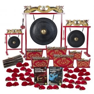 This is a product image of the Indonesian Gamelan - Standard - 30 Player Class Pack - Budget Buddies. The products are laid out and include the following; Back Row - Gong Set - 12in (30cm) diameter Gong with Stand and Beater, Gong Set - 32in (80cm) diameter Gong with Stand and Beater, Gong Set - 20in (50cm) diameter Gong with Stand and Beater. Second and Third Rows - One Balinese Drum - 50cm, two Gamelan - Standard - Medium 7 key, two Gamelan - Standard - Large 7 key, two Gamelan - Standard - Small 7 key. Front Row - Andy Gleadhill's Indonesian Gamelan Book, Andy Gleadhill's Percussion Buddies Book, twenty Ceng Ceng - 14cm, pair. Each instrument that requires a beater has one resting on top of them.
