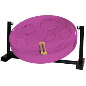 This is a product image of the Jumbie Jam Steel Pan - Desktop - purple, with two beaters laying in the bowl of the instrument.
