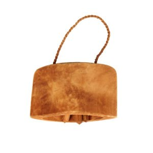 This is a product image of the Kokokan - Wooden Cow Bell. It is a carved wooden bell section with a twine handle, and two wooden 'clangers' within. This instrument here is laid flat.