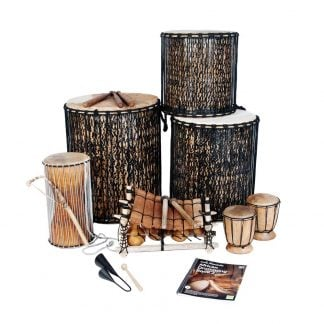This is a product image of the Level 2 African Drumming Add-on Pack. The products included in the pack are laid out and include the following; Back Row - Dundun - 14in diameter, 40cm high, bamboo, Sangban - 16in diameter, 50cm high, bamboo. Second Row - Talking drum - premium - 40cm high, Balafon (African Xylophone) - 8 note, Bongos (African Bongos). Third Row - Agogo Bells - Medium, Andy Gleadhill's African Drumming Book 2.