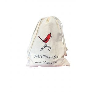 This is a product image of the Little Birdsong Bag. It is a standard canvas bag with the Little Birdsong emblems printed upon it.
