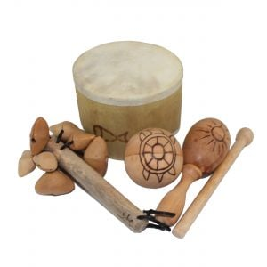 Little Hands Starter Basket - 5 Instruments. All five instruments are stacked together and include one Bamboo Mini Drum, one  Ball Shaker - 5cm, Early Years - Early Years, one Wind Chime - Early Years, one Kenari Shaker - Early Years, one Music Bracelet - XS, one Egg on Stick - Small - 5cm, Early Years.