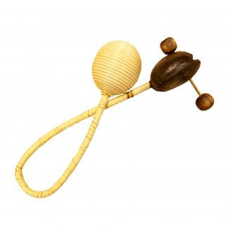 This is a product image of the Loopy Agogo Shaker. It has a looped wooden handle with a beater and a rattle section at either end. The instrument is pointing from bottom left to top right.