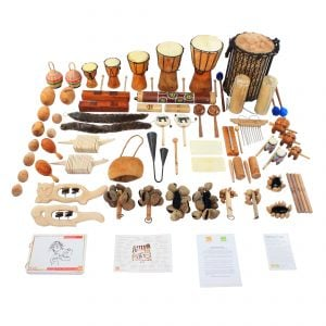 Lots of Littles Kit - 60 Instruments, with the contents laid out flat outside of the basket.